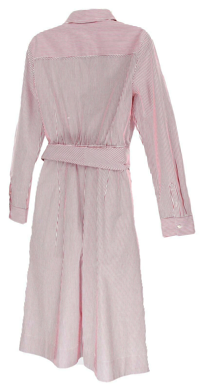 JCrew Womens Tie Waist Shirt Dress Red White Stripes Button Front Dress 14 H7791 image 6