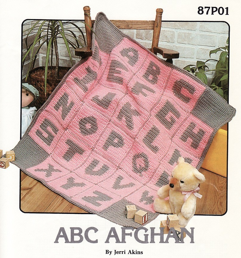 ... : Annies Attic ABC Afghan Crochet Pattern Baby Blanket Infant Throw