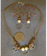 Handmade Peace Sign Heart Wood Bead Earrings & Necklace - $7.99