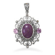 Ornate Purple Turquoise and Marcasite Pendant - $104.95