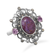 Ornate Purple Turquoise and Marcasite Ring - €70,68 EUR