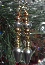 Silver and Gold Christmas Lights Earrings on Surgical Steel Ear Hooks Ha... - $19.99