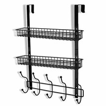 Coat Rack, MILIJIA Over The Door Hanger with Mesh Basket, Detachable Storage She