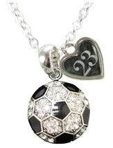 Custom Soccer Ball Crystal Silver Necklace Jewelry Jersey Numbers 00-49 Avail - $15.19