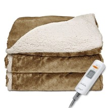 Heated Throw Sherpa Blanket Electric Fuzzy Soft Plush Mink Cozy Reversib... - ₹5,898.95 INR