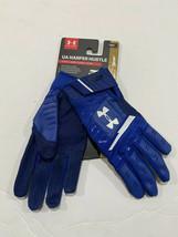 Under Armour Harper Hustle Batting Gloves Youth YMD Royal Blue 1318093-400 - $21.55