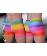 Thunderbox Nylon Spandex Mens Womens Rainbow Gladiator Shorts   - $25.00