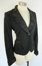 MARC JACOBS Black Stretch Viscose Wool Pleated Silk Trim Blazer Jacket 8 - $59.40