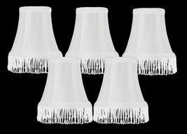 Urbanest Set of 5 White with White Fringe Silk Bell Chandelier Lamp Shade, 3-inc - $28.70