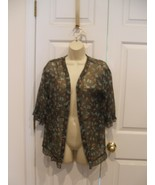 NWT $30 DecreeOLIVE  floral Fly Away top machine wash 100% polyester Jun... - $16.82