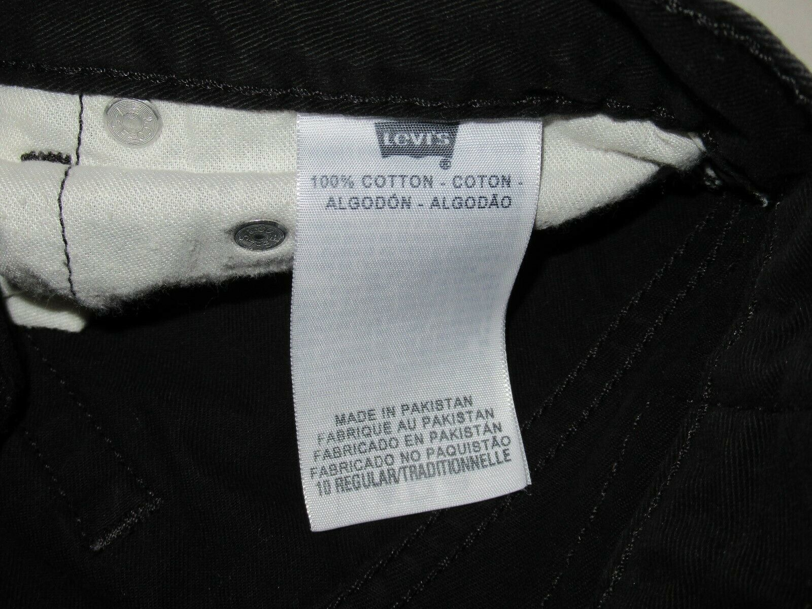 Boys Levis 505 Straight Black Denim Jeans Size 10 Reg Short! Brushed Cotton Warm image 5