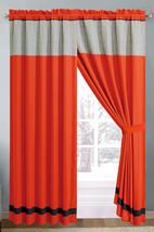 4-Pc Floral Medallion Embossed Curtain Set Orange Blue Sliver Drape Sheer Liner - $40.89