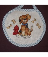 New Baby Bib Puppy Dog Bones girl boy unisex Handmade Finished Cross Stitch - $14.99