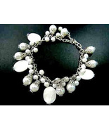Bracelet Silver Chain White Mother of Pearl Sea Shell Pearls - $9.99
