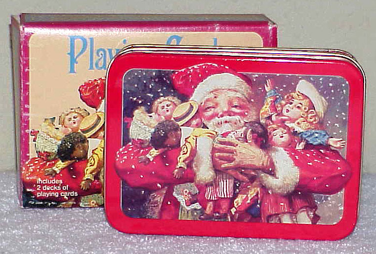 Vintage Enesco Christmas Santa Playing Cards in Tin Box NOS