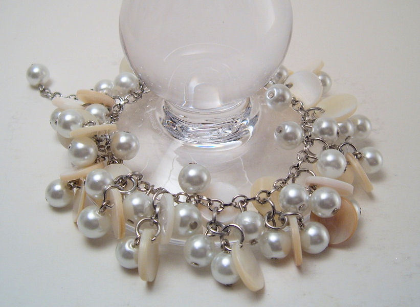 Bracelet Silver Chain White Mother of Pearl Sea Shell Pearls