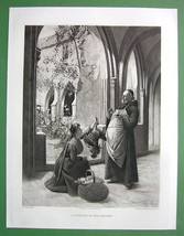 MONK in Convent Receives Gift Poultry - 1893 Victorian Era Antique Print - $9.45