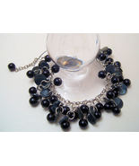 Bracelet Silver Chain Black Mother of Pearl Sea Shell Pearls - $9.99