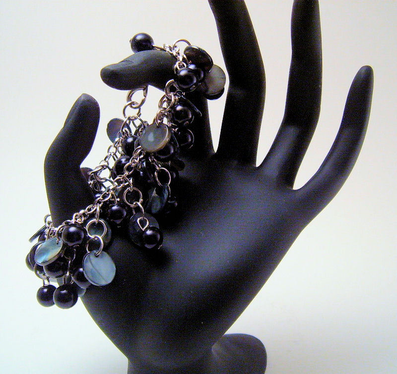 Bracelet Silver Chain Black Mother of Pearl Sea Shell Pearls