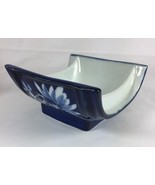 Japanese Midnight Blue White Floral Square Porcelain 2 Dipping Sauce Bow... - $18.49