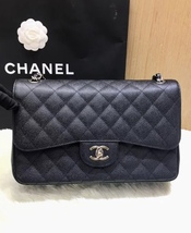 AUTHENTIC NEW CHANEL BLACK CAVIAR QUILTED JUMBO DOUBLE FLAP BAG SILVER HARDWARE image 7