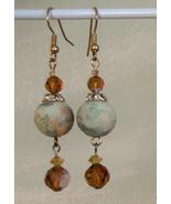 Vintage 1920 Crystal Marble Bead Earrings  Hand... - $9.99