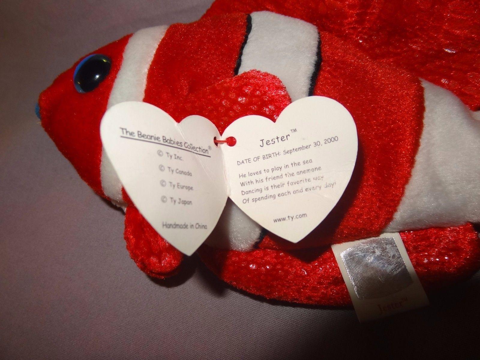 "Jester Clown Fish Ty Beanie Baby Plush Stuffed Animal 8"" Long Red White 2000 01"
