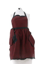 Colleen Lopez Apron Set Pot Holder Red Black Plaid Tie Back One Size NEW... - $17.79