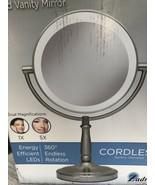 Zadro Cordless Dual-Sided LED Lighted Vanity Make Up Mirror Nickel New i... - $29.70