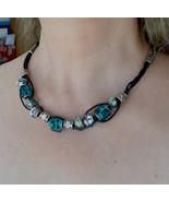 statement leather necklace, handmade designer (161) - $29.00