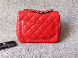 AUTHENTIC CHANEL RED QUILTED CAVIAR SQUARE MINI CLASSIC FLAP BAG SHW image 2