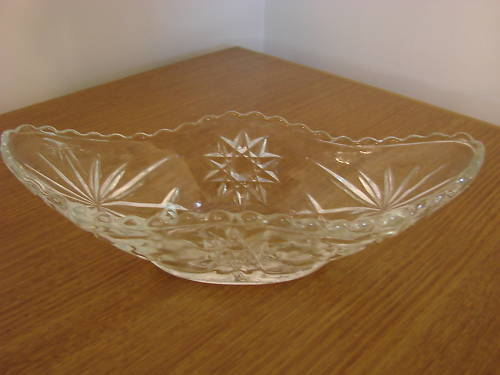 Clear Glass Candy or Relish Dish with Star Design