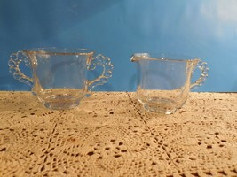 Candlewick by Imperial Glass Co Creamer & Open Sugar Bowl - Beaded Handle - $4.94
