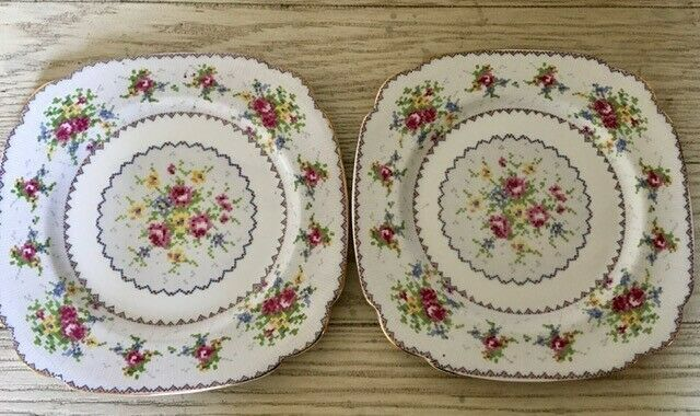Primary image for Royal Albert Petit Point 2 Square Dinner Plates Set Needlepoint England 9 1/2""