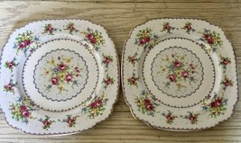 Royal Albert Petit Point 2 Square Dinner Plates Set Needlepoint England ... - $37.39