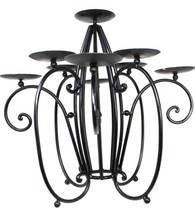 Large Vintage Black Wrought Iron Medieval Fireplace Candelabra Candle 16... - $71.99