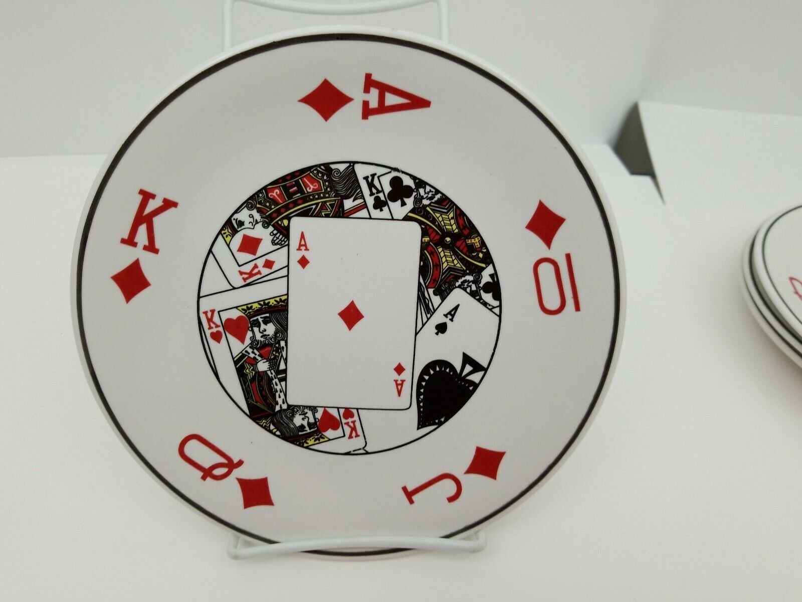 "Playing Cards Snack Plates Set of 4 Side Dessert Bread Dishes 8.25"" NEW 4 Suits image 8"