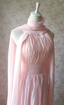 Baby Pink Halter Neck Sleeveless Maxi Cocktail Dress Chiffon Aline Evening Dress image 6