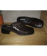 Womens 7 NINE & COMPANY Brn Woven Leather Mules Clogs Slides Shoes PRETT... - $14.89