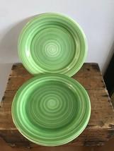 "3 x Gibson Stoneware Ceramic Green Stripe SWIRL Hand Painted Dinner Plates 10.5"" - $29.02"