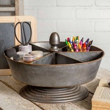 Galvanized Metal Six Bin Tabletop Organizer Holder Hardware Craft Office... - $68.26