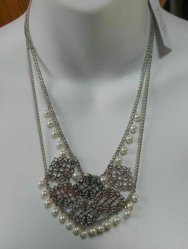 Jessica Simpson Silver-tone Faux Pearl Double Chain Necklace - $23.76