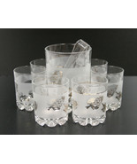 VTG Barware glasses ice bucket frosted glass gold grapes leaves ITALY - ... - $14.84