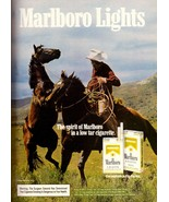1985 Marlboro Man Lights Cigarettes Smokes Vintage Print Advertisement A... - $7.92