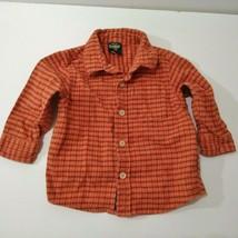 Boys shirt size 18 Months OshKosh B'Gosh plaid Long Sleeved Orange button Down - $9.41