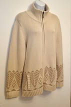Coldwater Creek NEW 1X Cardigan Sweater Jacket Nordic Beige Ski Relaxed $139 - $61.88