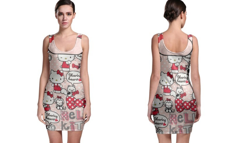 Primary image for Hello Kitty Shaeing Hearts BODYCON DRESS FOR WOMEN