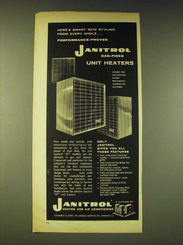 1960 Janitrol Gas-fired Unit heaters Ad - Here's smart new styling