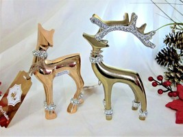 "Christmas Holiday Gold Brass & Rhinestone Reindeer Deer Figurine 7"" SET ... - $39.59"