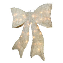 "24"" Sparkling Cream Whimsical Sisal Bow Christmas Yard Decor - $93.95"